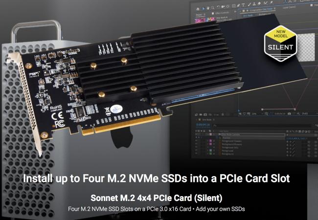 Sonnet M.2 4×4 Silent PCIe Card